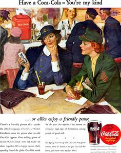 A collection of Coca Cola Advertising from WWII soldiers Vintage Coca Cola, Vintage Ads, Vintage Posters, Coca Cola Poster, Coca Cola Ad, Pepsi, Belle Epoque, Coke Ad, Poster