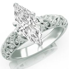 Amazon.com: 0.99 Carat Marquise Cut / Shape 14K White Gold Vintage Style Channel Set Filigree Diamond Engagement Ring ( D-E Color , SI2 Clarity ): Jewelry