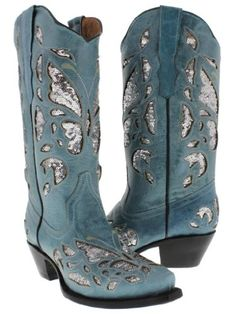 Cowboy Professional - Women's Wings with Flower Denim Blue Leather ...