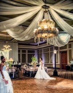 With the chandelier adorned in flowers and drapery, the Ruthe Jackson Center ballroom became another world.