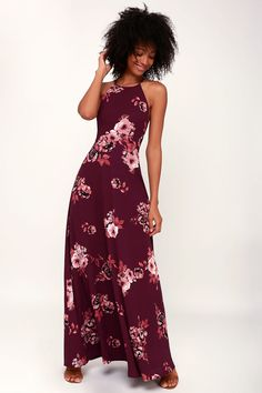 1ca173f188de Lulus | Rancho Burgundy Floral Print Lace-Up Maxi Dress | Size X-Large |  100% Polyester
