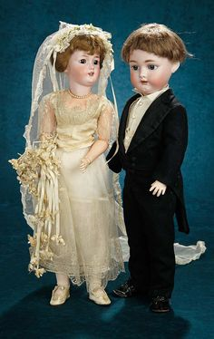 143 German Bisque Dolls as Bride and Groom with Exclusive CostumesForever Young - Marquis Antique Doll Auction   Theriault's