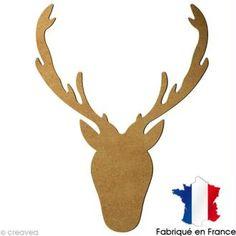 Tête de cerf en bois à décorer - 30,5 x 23,5 cm