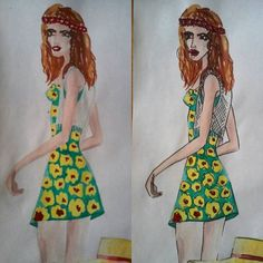 #fashion #illustration #fashionillustration #fashionillustrator #draw #drawing #paint #painting #girl #flower #style #stylist #design #designer #fashiondesign #fashiondesigner
