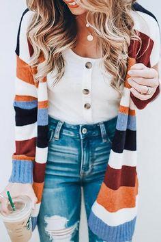 Fall and Winter Fashion Striped Cardigan - . Fall and Winter Fashion Striped Cardigan - History of Knitting Yarn ro. Strick Cardigan, Kimono Cardigan, Cardigan Fashion, Long Cardigan, Fall Cardigan, Slouchy Cardigan, Longline Cardigan, Floral Cardigan, Fashion Joggers