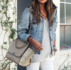 White pants, jean jacket and grey. Love it
