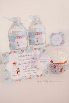 Shabby fiesta de cumpleaños elegante floral o Bebé Porción twinklelittleparty