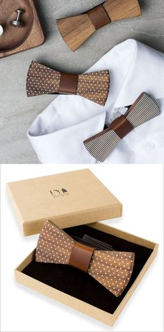 Thick pieces of wood with leather center pieces and simple stripes or polka dots, make these modern bow ties a fun alternative to the traditional kind often worn to formal events.