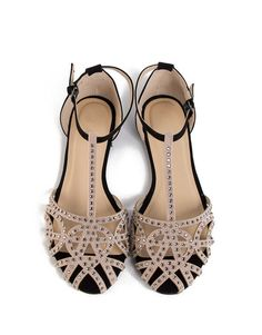 JEWELED NETTED FLAT SANDALS