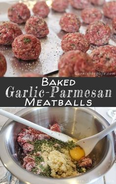 meatball recipes Baked Garlic-Parmesan Meatballs are a great topping on your favorite pasta or for filling your Meatball Subs. The meatballs are flavorful and hold their shape perfectly! Also check out our recipe for the Perfect Meatball Sub! Baked Garlic, Garlic Parmesan, Healthy Recipes, Healthy Meals, Garlic Recipes, Dinner Healthy, Yummy Recipes, Meatball Casserole, Pasta Dishes