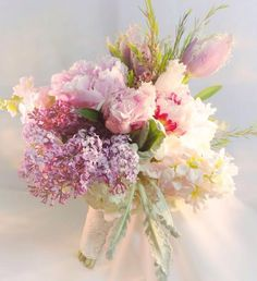 Pink sand satin ribbon with lace adorns this romantic bouquet featuring pink peonies, lavender and garden roses~