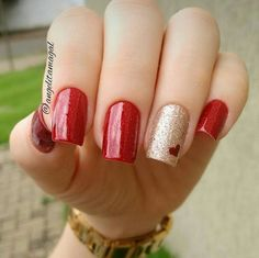 30 newest short nails art designs to try in 2020 page 37 Fancy Nails, Red Nails, Love Nails, Pretty Nails, Holiday Nails, Christmas Nails, Valentine Nail Art, Easy Nail Art, Simple Nails