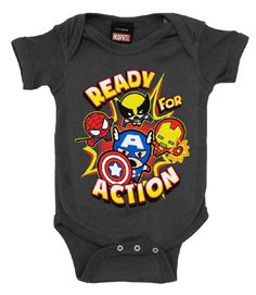 Amazon.com: Marvel Comics Heroes Ready For Action Baby Creeper Romper Snapsuit: Clothing