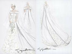 Esquisse et Croquis - Robe de Mariée - Giorgio Armani pour la Princesse Charlène de Monaco