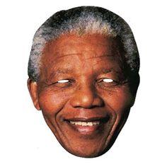 """Laadukas ja täysin aidon näköinen valokuvasta tehty pahvinen muotoon leikattu """"Nelson Mandela"""" naamio silmäaukoilla ja joustavalla kiinnitysnarulla. Koko noin 28cm x 20cm. Järjestä kunnon julkkisbileet ja hommaa naamarit kaikille!"""