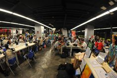 Sala de imprensa durante os Jogos Olímpicos de Verão 2008, Pequim, China.   Fotografia: Tim Hipps / U.S. Army.