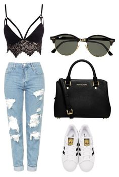 """""""Summer"""" by maria-alejandra-mora-oviedo on Polyvore featuring Topshop, Club L, adidas Originals, Ray-Ban and MICHAEL Michael Kors"""
