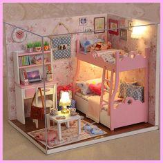 Handmade Doll House Furniture Miniatura Diy Doll Houses Miniature Dollhouse Wooden Toys For Children Grownups Birthday Gift HLZ