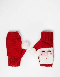 Bild 1 von ASOS – Gestrickte Handwärmer mit Weihnachtsmanndesign