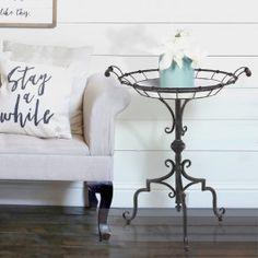 """-Beautifully crafted from metal-Dimensions: 24"""" Dia x 29"""" High-Packed: One per package (you will receive one Round Enamelware Inspired Side Table)-A maximum quantity of 10 is allowed per customer-Shipping Date: Leaves our warehouse within fifteen days"""