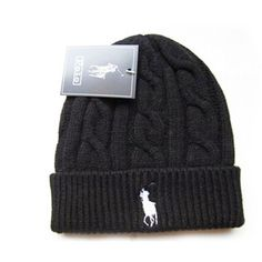 Polo Beanie Black ❤ liked on Polyvore featuring accessories, hats, black beanie…