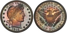 """In the final year of the Barber Half Dollar series, coiners at the Philadelphia Mint produced only 450 Proof """"halves."""" This was the last year in which Proof Half Dollars were made, and none were made for another 21 years in Coin Auctions, Proof Coins, Rare Coins, Half Dollar, Rarity, World War I, Barber, Philadelphia, Mint"""