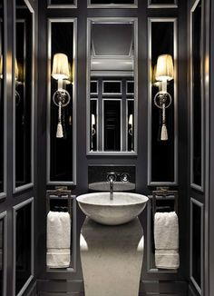 Black and White Bathrooms Which Show Their Simplicity: Fantastic Black Bathroom Design In Classical Touch Using Small Bathroom Vanity With White Washbasin From Porcelain Material Under Wall Lampshades ~ workdon.com Bathroom Design Inspiration