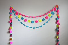 Candy Dots Bunting party package of 3 paper garlands by GrayDayStudio