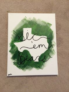 #Baylor University sic 'em bears state canvas by canvasbyliz, $14.00