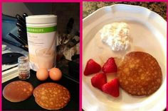 Herbalife Pancakes- 2 scoops of Formula 1, 2 egg whites, sprinkle with cinnamon and nutmeg. Mix together & cook on griddle, Serve up with fresh strawberries & organic low fat cottage cheese! Under 200 calories & packed with protein! Get your Herbalife products by visiting www.goherbalife.com/jolenemalsam