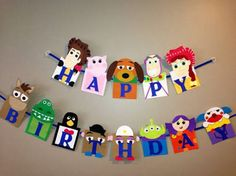 Handmade Toy Story happy birthday banner by Craftophologie on Etsy Fête Toy Story, Toy Story Theme, Toy Story Party, Toy Story Crafts, Woody Birthday, Toy Story Birthday, 3rd Birthday, Birthday Ideas, Toy Story Decorations