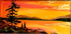 """alcohol ink sunset on 3x6"""" ceramic tile by Jewel Buhay"""