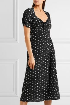 Miu Miu   Printed silk crepe de chine midi dress   NET-A-PORTER.COM