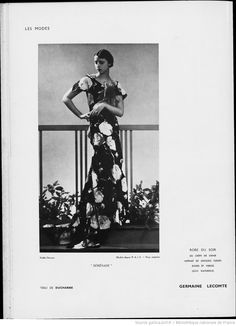 "Modes (Paris) 1935  ""Serenade"" Robe du Soir. Germaine Lecomte."