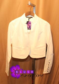 All white high-cut jacket $69 buttons on one sleeve (sizes M & L) Blush Couture Atlanta