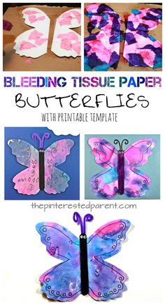 Adorable STEAM for Exploring Creation with Zoology Bleeding tissue paper butterflies with a free printable template. Paint with tissue paper. Kid's spring and summer arts and crafts Summer Arts And Crafts, Arts And Crafts For Adults, Easy Arts And Crafts, Crafts For Kids, Summer Crafts For Preschoolers, Spring Crafts, Toddler Snacks, Toddler Crafts, Preschool Crafts