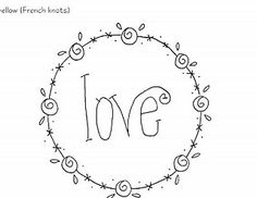 love~ Free Stitchery pattern by lizzie Embroidery Hearts, Hand Embroidery Patterns, Embroidery Applique, Cross Stitch Embroidery, Machine Embroidery, Embroidery Designs, Primitive Stitchery, Hand Lettering, Needlework