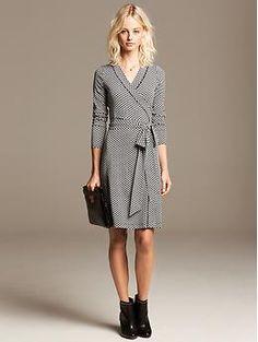 Gemma Black Geo Wrap Dress | Banana Republic