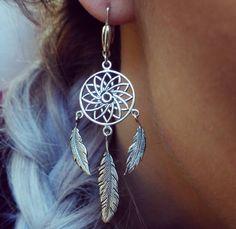 Sterling Silver Dreamcatcher Earrings, dangling feathers, Boho style Earrings,