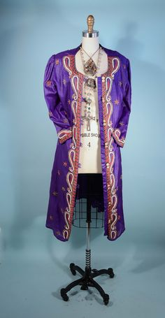 Royal Purple Silk Heavily Beaded Indian Bohemian Dress/Duster Coat Ceremonial Wedding Bollywood Kimono