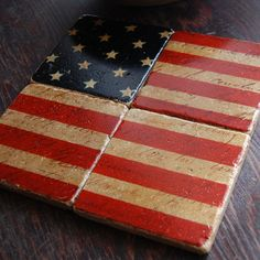 Stars and Stripes Forever - Americana stone coaster set (frame for wall) Custom Coasters, Diy Coasters, Warm Home Decor, Paint Your Own Pottery, Tile Crafts, Craft Show Ideas, Stone Coasters, Patriotic Decorations, Fourth Of July
