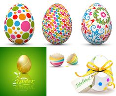 Easter eggs templates with beautiful pattern of circles, polylines, floral decorations and background with golden egg. Free download. Ready for print.