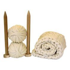 Blanket knitting kit. Giant afghan. 40mm Knitting needles.