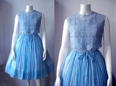 50s chiffon Grace dress/ Stunning 1950s cocktail dress /50s full sweep dress