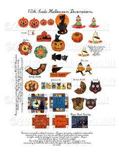 Dollhouse 12th Scale Vintage Halloween Printable Collage Sheet - Decorations Boxes Mask Postcards