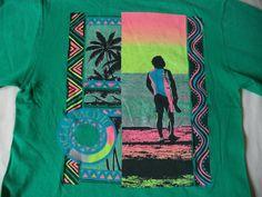 Vintage 80's Ocean Pacific T shirt S/XS neon by GenXtravaganza, $20.00
