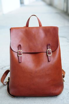 Perfect for my coffee shop visits. -Katherine Hand Stitched Large Leather Backpack by ArtemisLeatherware on Etsy