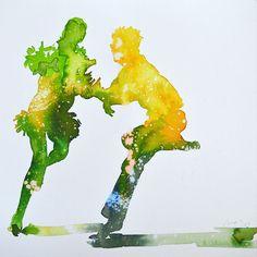 """dancing! Maria Bejarano ·  watercolour& ink Collection: SAY CHEESE! """"A photographer's instruction just before taking a picture, in order to make people smile"""" La cultura Pop, imágenes de los años 50 en los medios de comunicación, separadas de su contexto y combinadas con graffitis, para mediante la ironía crear imágenes optimistas y vitales que hagan sonreír."""