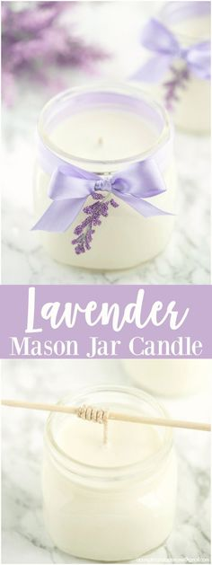 DIY Lavender Candle   How to make soy lavender candles in mason jars + printable gift tags to give as Mother's Day and birthday gifts.  via: @crystalowens