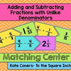 Adding and Subtracting Fractions with Unlike Denominators Matching CenterCCSS: 5.NF.A.1Adding and Subtracting Fractions with Unlike Denominators Matching CenterIncluded in this product: 20 Adding and Subtracting Fractions with Unlike Denominators matching cards. (2 versions- Bright backgrounds and black and white)Recording Sheet Students can match up adding and subtracting fractions with unlike denominator expressions and the answers (simplifying and changing to mixed numbers).